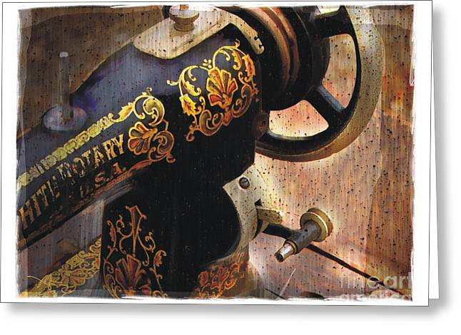 Sewing Room Greeting Cards - Old Sewing Machine Greeting Card by Bob Salo