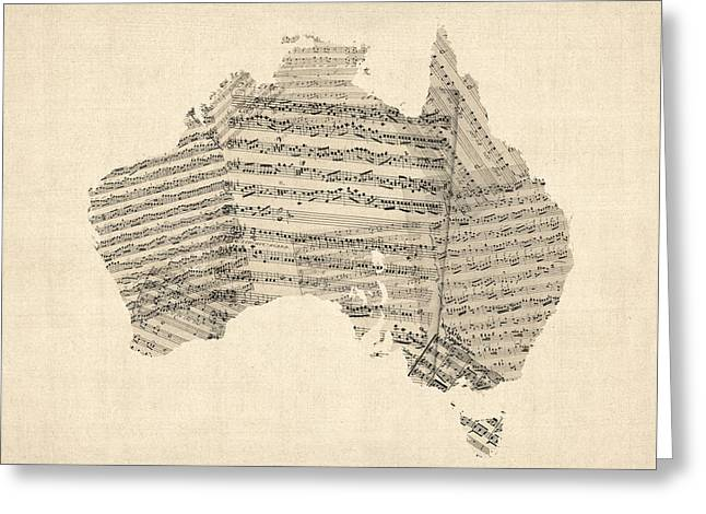 Sheet Greeting Cards - Old Sheet Music Map of Australia Map Greeting Card by Michael Tompsett
