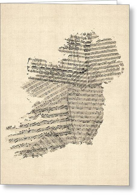 Sheet Greeting Cards - Old Sheet Music Map of Ireland Map Greeting Card by Michael Tompsett