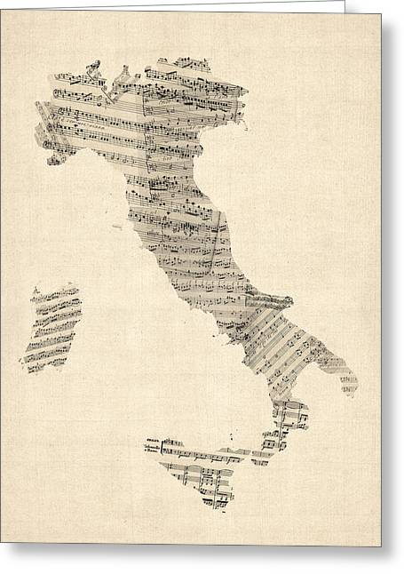 Sheet Greeting Cards - Old Sheet Music Map of Italy Map Greeting Card by Michael Tompsett