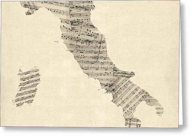 Old Sheet Music Map of Italy Map Greeting Card by Michael Tompsett