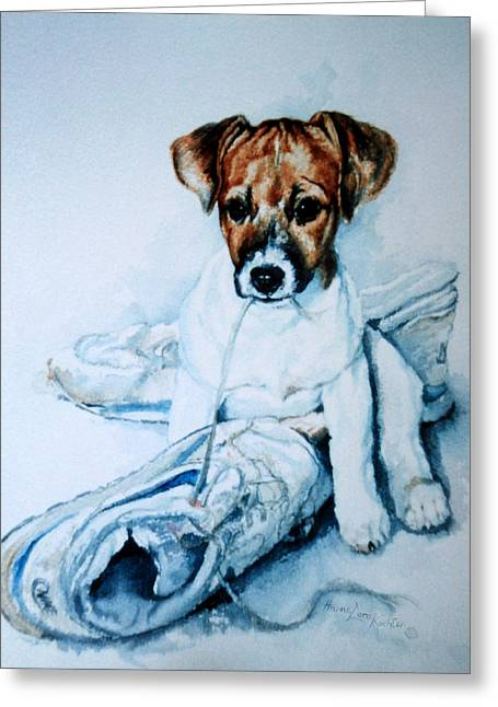 Action Portrait From Photo Greeting Cards - Old Shoe Pup Greeting Card by Hanne Lore Koehler