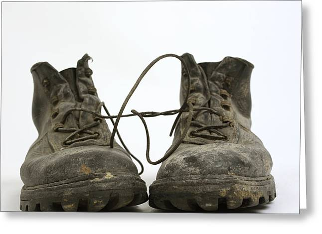 Work Boots Greeting Cards - Old shoes Greeting Card by Bernard Jaubert