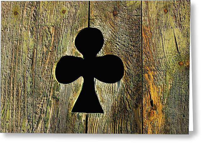 Clover Greeting Cards - Old shutter in wood Greeting Card by Bernard Jaubert