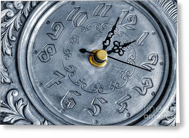 Old silver clock Greeting Card by Carlos Caetano