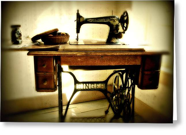 Sewing Machine Greeting Cards - Old Singer Greeting Card by Perry Webster