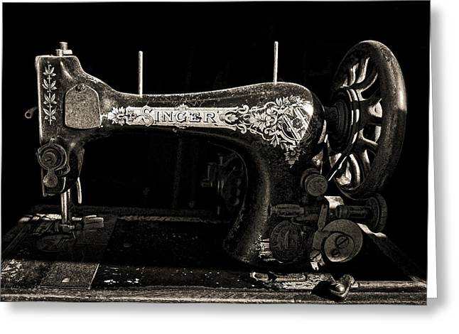 Sewing Machine Greeting Cards - Old Singer Greeting Card by Steve Zimic