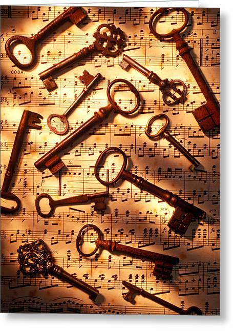 Unlocking Greeting Cards - Old skeleton keys on sheet music Greeting Card by Garry Gay