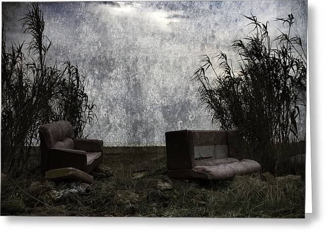 Dinner Digital Art Greeting Cards - Old Sofas Greeting Card by Stylianos Kleanthous