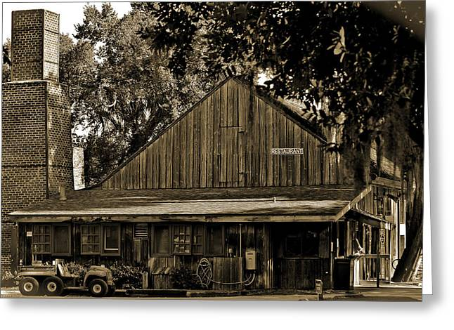 Pancakes Greeting Cards - Old Spanish Sugar Mill Sepia Greeting Card by DigiArt Diaries by Vicky B Fuller