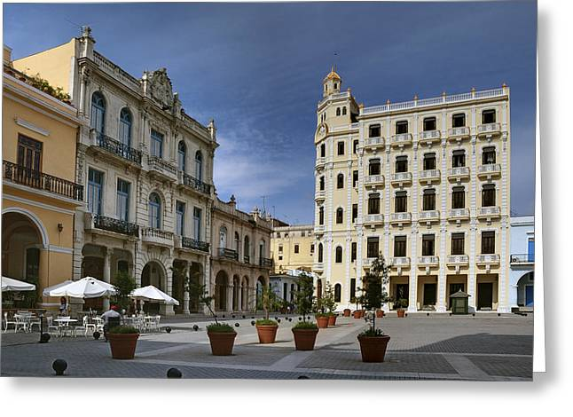 Historic Site Greeting Cards - Old Square. Havana. Cuba Greeting Card by Juan Carlos Ferro Duque