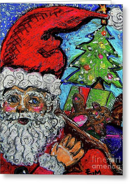 Nicholas Pastels Greeting Cards - Old St Nick Greeting Card by Emily Michaud