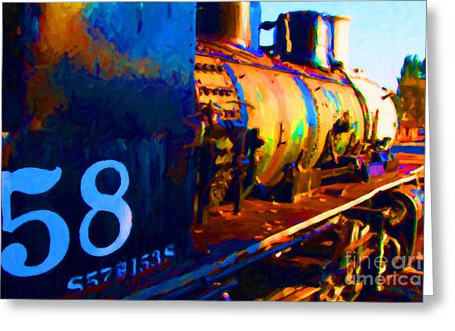 Impressionism Digital Greeting Cards - Old Steam Locomotive Engine 1258 . Painterly Greeting Card by Wingsdomain Art and Photography