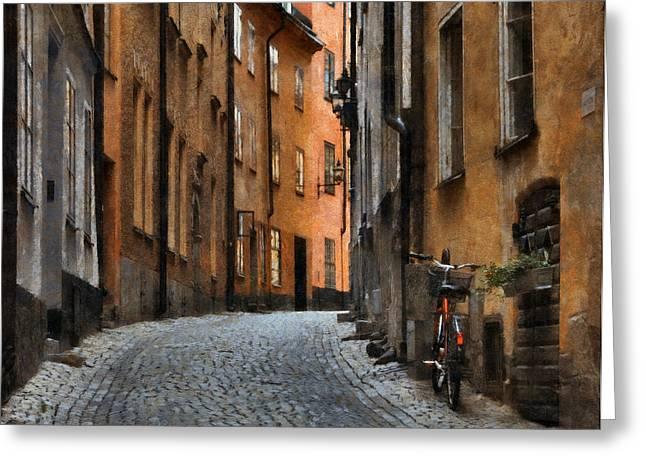 Brick Street Greeting Cards - Old Stockholm Greeting Card by Joe Bonita