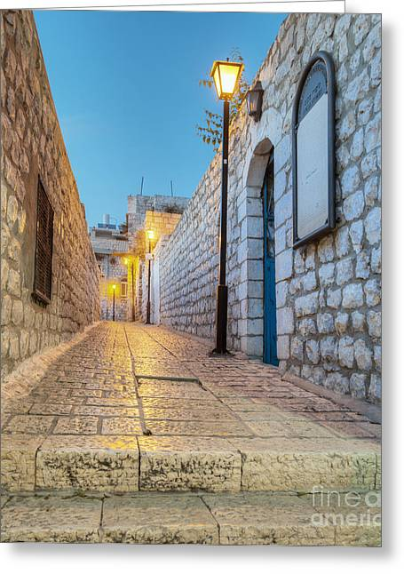 Stepping Stones Greeting Cards - Old Stone Alleyway With Electric Lights Greeting Card by Noam Armonn
