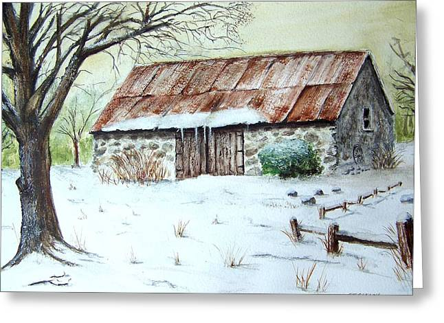 Snow On Barn Greeting Cards - Old Stone Barn In Winter Greeting Card by Terence John Cleary
