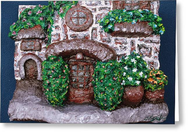 Brick Sculptures Greeting Cards - Old Stone House Greeting Card by Alison  Galvan