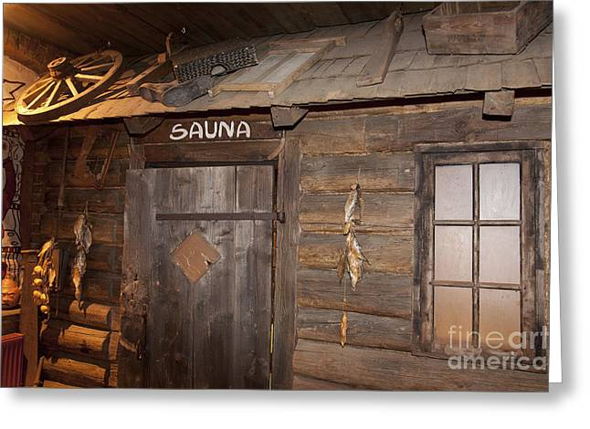 Best Sellers -  - Log Cabin Interiors Greeting Cards - Old Style Sauna Room Greeting Card by Jaak Nilson