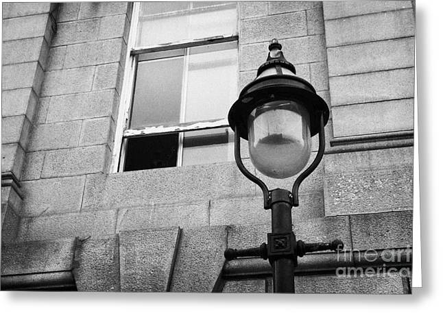 old sugg gas street lights converted to run on electric lighting aberdeen scotland uk Greeting Card by Joe Fox