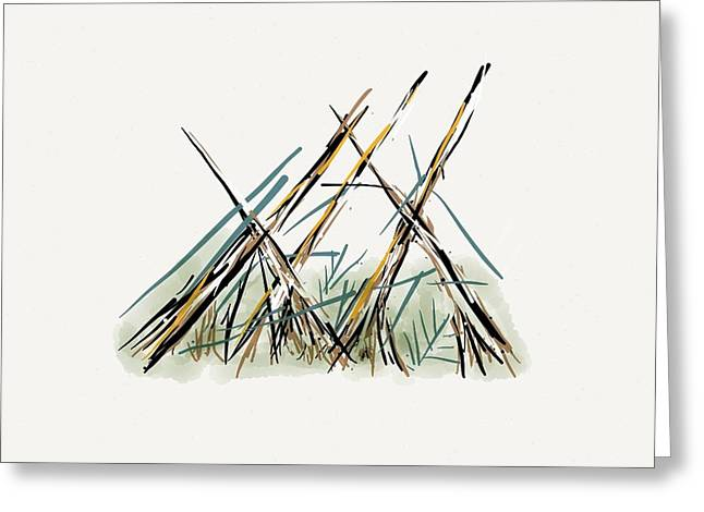 Aboriginal Mixed Media Greeting Cards - Old Sundance Kootenay Plains Greeting Card by Richard D Mabb