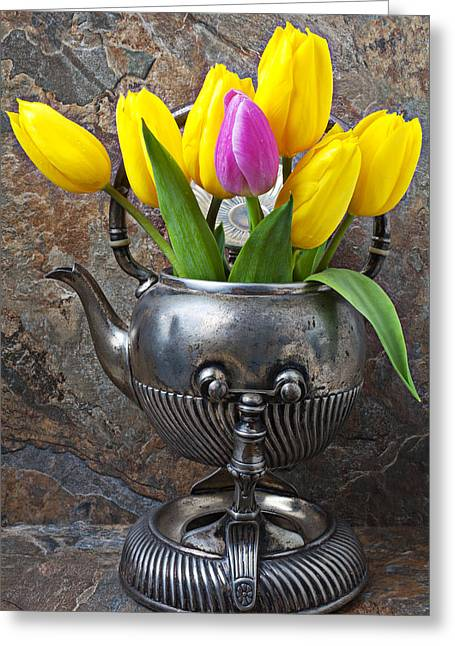 Silver Pitcher Greeting Cards - Old tea pot and tulips Greeting Card by Garry Gay
