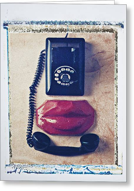Transfer Greeting Cards - Old telephone and red lips Greeting Card by Garry Gay
