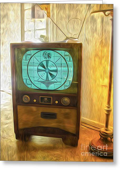 Gregory Dyer Greeting Cards - Old Television Greeting Card by Gregory Dyer