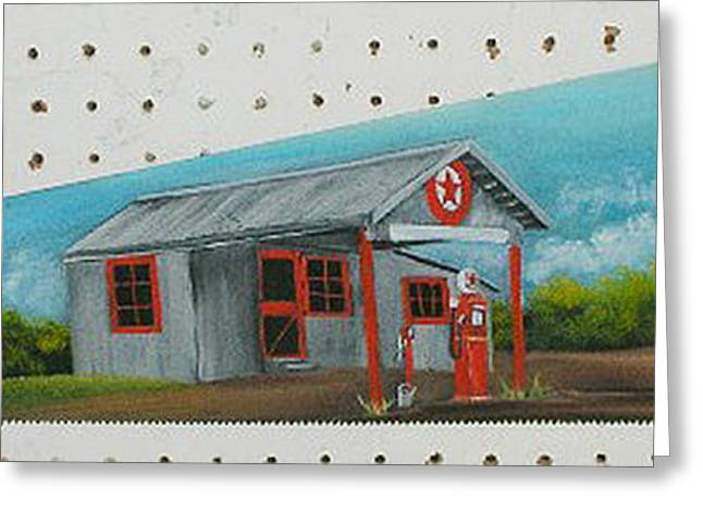 Saw Greeting Cards - Old Texaco Station Greeting Card by Darlene Prowell