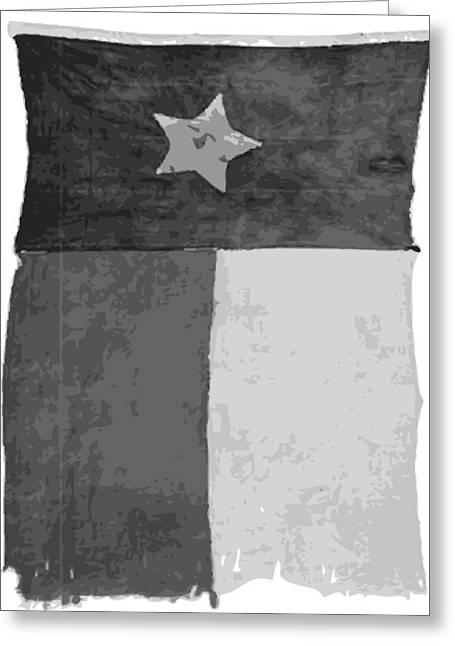 Austin Artist Digital Art Greeting Cards - Old Texas Flag BW10 Greeting Card by Scott Kelley