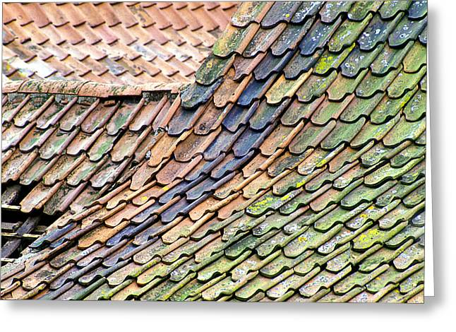 """roof Tile"" Greeting Cards - Old Tiled Roof Greeting Card by Dr Keith Wheeler"