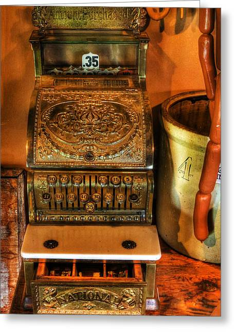 Old Time Cash Register - General Store - Vintage - Nostalgia  Greeting Card by Lee Dos Santos