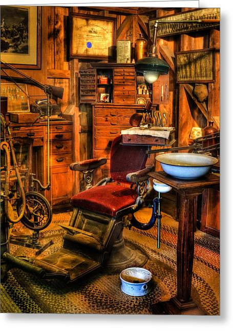 Checkup Greeting Cards - Old Time Dentist II -  dentistry - dentist chair -  surgery - The Dentist Chair - Office Greeting Card by Lee Dos Santos