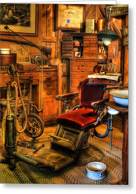 Checkup Greeting Cards - Old Time Dentist Office -  dentistry - dentist chair -  surgery - Dentist Chair IV Greeting Card by Lee Dos Santos