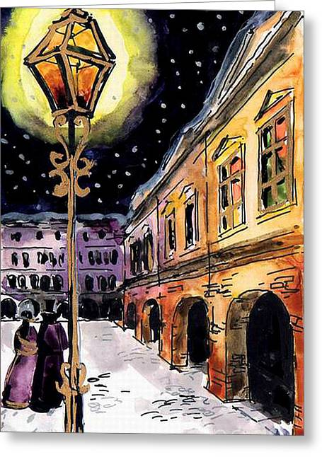 Old Time Greeting Cards - Old Time Evening Greeting Card by Mona Edulesco