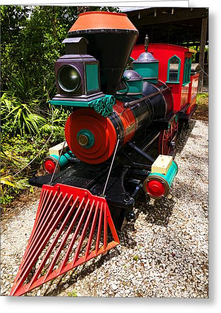Headlight Greeting Cards - Old time train Greeting Card by Garry Gay