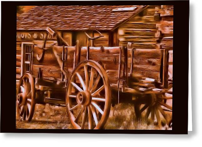 Old Western Photos Digital Art Greeting Cards - Old Time Wagon Greeting Card by Tisha McGee