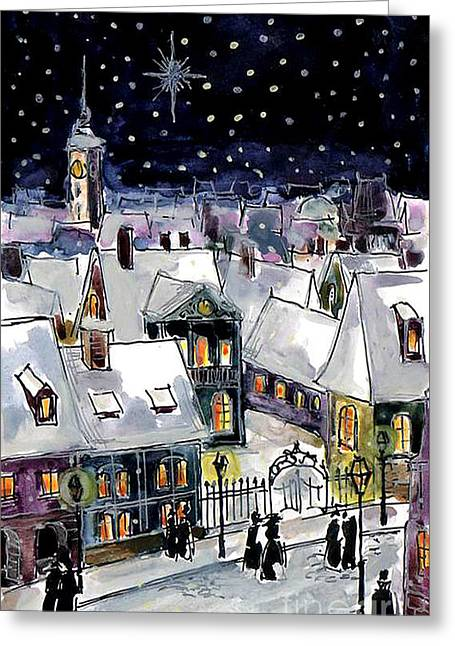 Old Time Greeting Cards - Old Time Winter Greeting Card by Mona Edulesco