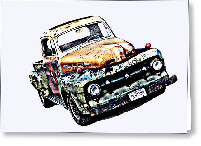 Sam Sheats Greeting Cards - Old Timer 1952 Ford Pickup Truck Greeting Card by Samuel Sheats