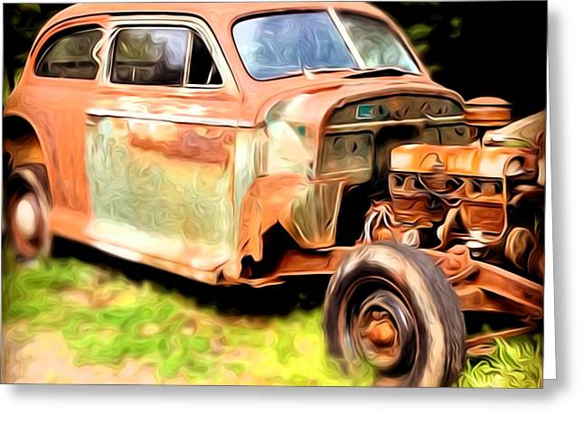Rusted Cars Greeting Cards - Old Timer Greeting Card by Laura Brightwood