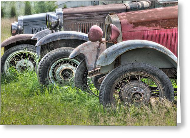 Rusted Cars Greeting Cards - Old Timers Greeting Card by Naman Imagery