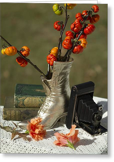 Pumpkin On A Stick Greeting Cards - Old Timey Still Life Greeting Card by Kathy Clark
