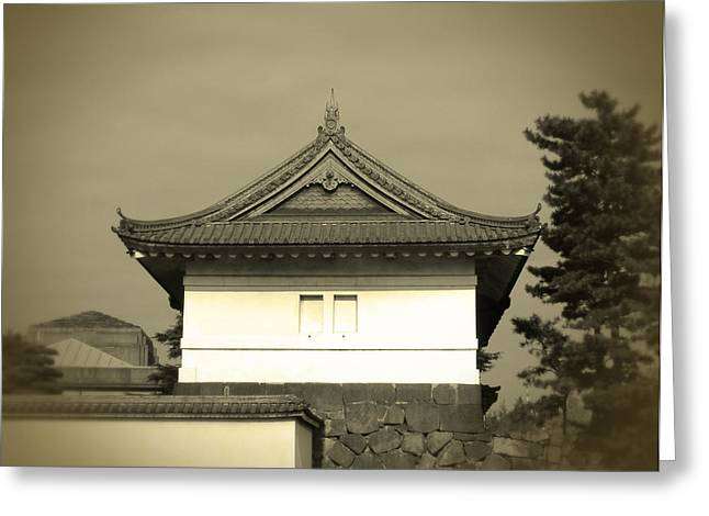 Japan House Greeting Cards - Old Tokyo Greeting Card by Naxart Studio