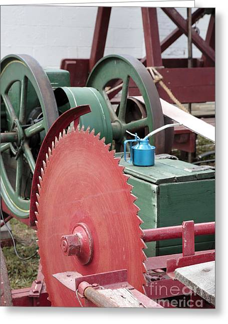 Circular Saw Greeting Cards - Old Gas Engine and Saw Blade at a County Fair Greeting Card by William Kuta
