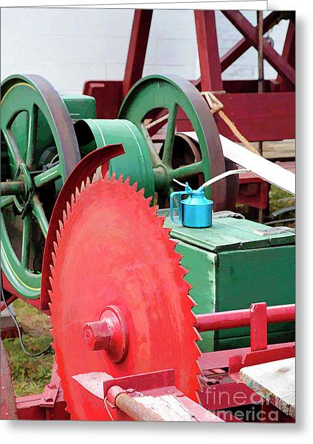 Circular Saw Greeting Cards - Old Engine and Saw Blade at a County Fair Greeting Card by William Kuta