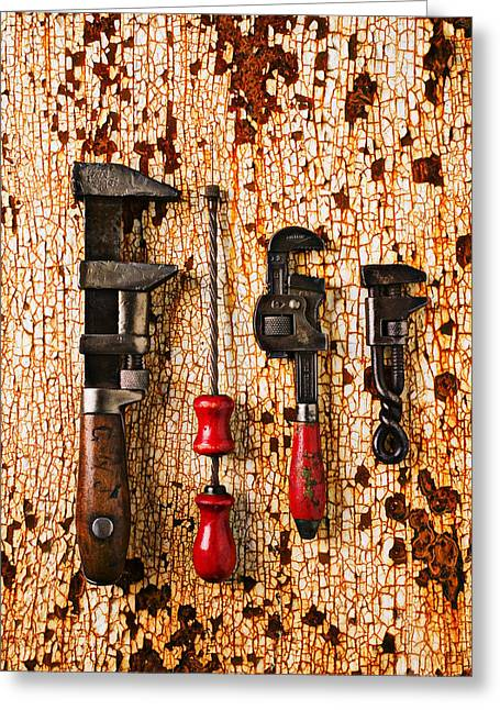 Repaired Greeting Cards - Old tools on rusty counter  Greeting Card by Garry Gay