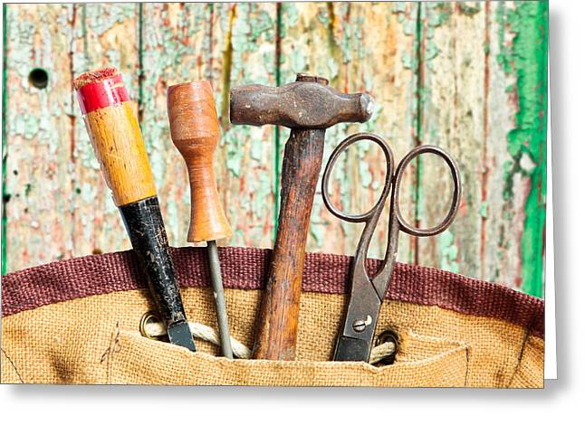 Sac Greeting Cards - Old tools Greeting Card by Tom Gowanlock