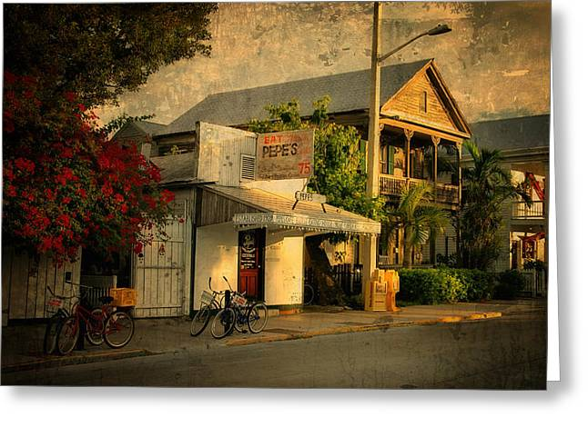 Florida Flowers Greeting Cards - Old Town -  Key West Florida Greeting Card by Thomas Schoeller