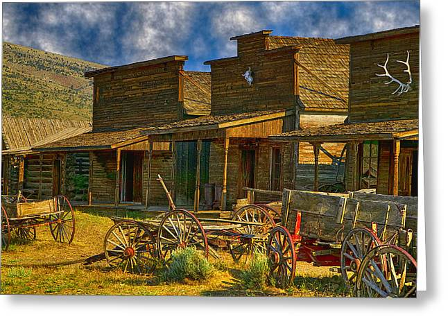 Wooden Wagons Greeting Cards - Old Town Cody Wyoming  Greeting Card by Garry Gay