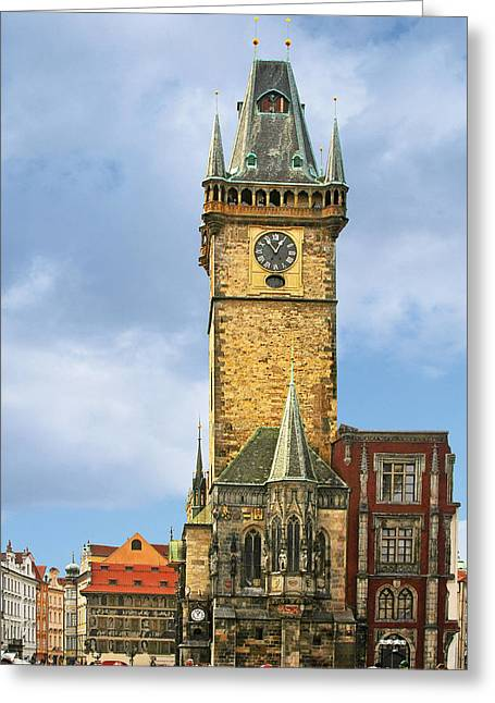 City Hall Greeting Cards - Old Town Hall Prague CZ Greeting Card by Christine Till