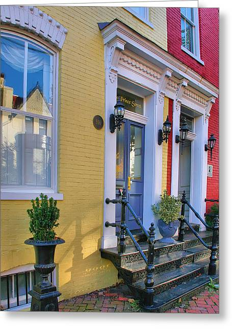 Entrance Door Greeting Cards - Old Town Homes I Greeting Card by Steven Ainsworth